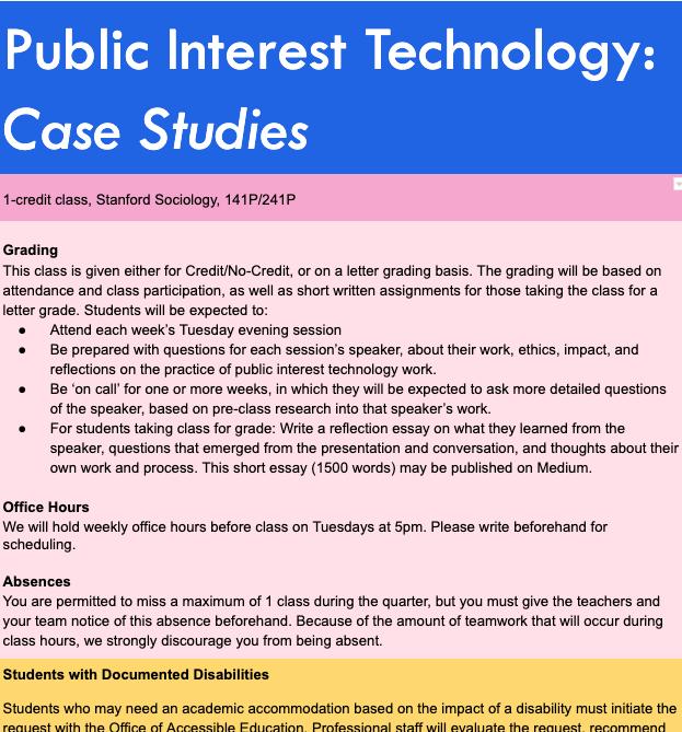 PIT speaker series syllabus